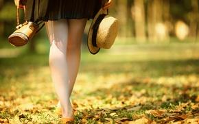 Picture autumn, feet, hat, bag