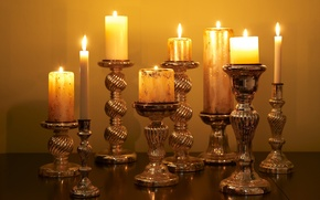 Picture light, fire, candles, candle holder