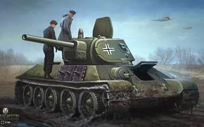Wallpaper road, autumn, the sky, figure, dirt, art, aircraft, tank, the Germans, Soviet, average, World of ...