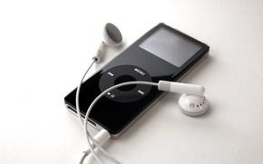 Picture black, Apple, iPod, headphones