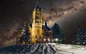 Picture winter, space, stars, snow, night, lights, New York, The Milky Way, United States, Syracuse, Syracuse …