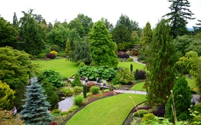 Picture greens, trees, flowers, pond, Park, lawn, garden, Canada, track, Vancouver, the bridge, the bushes, Queen …