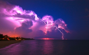 Picture storm, beach, sky, sea, landscape, Lightning, nature, night, clouds, stars, power of nature