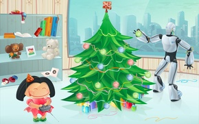 Picture figure, tree, new year, robot, girl