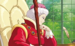 Picture pen, thoughts, chair, MAG, profile, staff, ring, sorceress, lady, howl's moving castle, hayao Miyazaki, howl`s …
