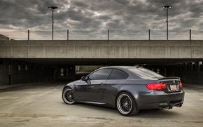 Picture grey, bmw, BMW, Parking, rear view, grey, parking, e92