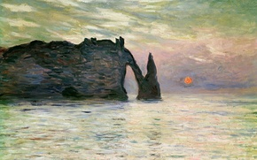 Wallpaper sea, landscape, picture, Claude Monet, Manport. Rock in Etretat. Sunset