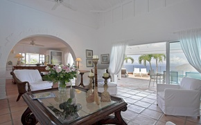 Picture flowers, house, style, Villa, room, Interior