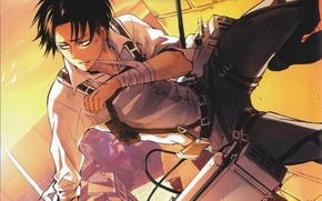 Picture the sky, wall, shirt, art, equipment, straps, bandage, shingeki no kyojin, the invasion of the …