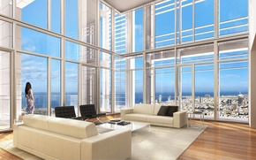 Picture the city, room, interior, penthouse, megapolis, living room
