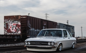 Picture audi, wheels, tuning, front, classic, train, face, old school, low, stance, clean, fraight, 100ls