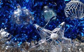 Wallpaper balls, blue, holiday, toys, star, new year, tinsel, sparkling