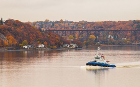 Picture river, bridge, autumn, railway, autumn colors, cloudy, tugboat