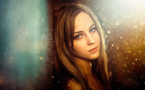 Picture eyes, look, girl, snow, glare, portrait, photographer Sergey Piltnik