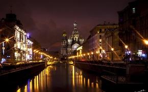 Picture water, night, bridge, the city, lights, Peter, Saint Petersburg, Church, temple, the Savior on blood, …