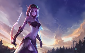 Picture forest, elf, art, hood, elf, ears, daggers, world of warcraft, chenbo