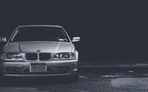 Picture BMW, BMW, black and white, E46