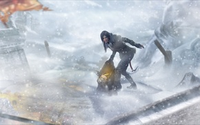 Picture winter, girl, snow, the wind, art, bag, lara croft, tomb raider, rise of the tomb …