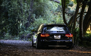 Picture Audi, black, rear, wagon, stance, before