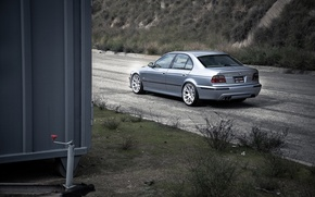 Picture road, grass, blue, bmw, BMW, container, rear view, blue, e39