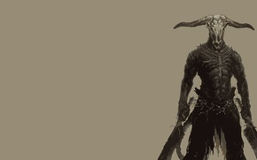 Wallpaper minimalism, games, dark souls, Capra Demon