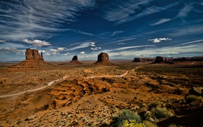 Picture the sky, grass, clouds, landscape, desert, plants, USA, monument valley, monument valley
