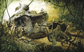 Picture war, jungle, tank, gun, the Japanese