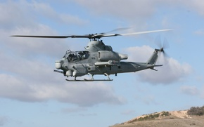 Wallpaper clouds, helicopter, blades, viper-hr, AH-1