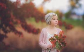 Wallpaper leaves, girl, bokeh, autumn portrait