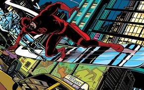 Picture machine, the city, street, Board, Daredevil, Marvel Comics, Daredevil, Silver Surfer, Silver Surfer