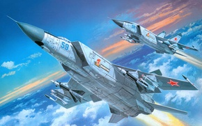 Picture the plane, fighter, art, BBC, generation, Soviet, tall, interceptor, supersonic, Of the Soviet Union., Mikoyan, …