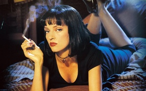 Picture Uma Thurman, Quentin Tarantino, Pulp fiction