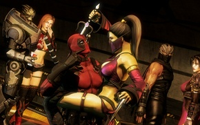 Wallpaper Deadpool, fan art, Mileena, Wade Wilson, Ryu Hayabusa, garrus vakarian, Sai, turian, Taki