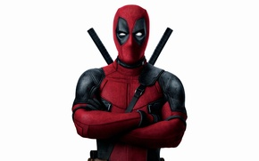 Picture red, weapons, fiction, mask, costume, white background, Ryan Reynolds, Ryan Reynolds, swords, superhero, Deadpool, Deadpool, ...