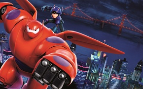 Picture Action, Boy, Big Hero 6, Violet, Rubber, Wings, Blue, Orange, White, Film, Water, Family, Hiro, ...