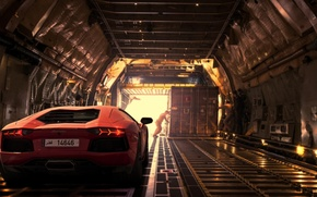 Picture Lamborghini, Light, Orange, Dubai, LP700-4, Aventador, Supercar, Plane, Rear