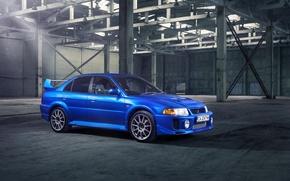 Picture blue, hangar, Mitsubishi, Lancer, blue, Lancer, Mitsubishi, evolution, Evolution V, Evolution 5