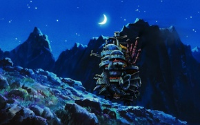 Picture moon, landscape, anime, night, art, land, mountains, stars, country, castle, Hayao Miyazaki, countryside, Howls moving …