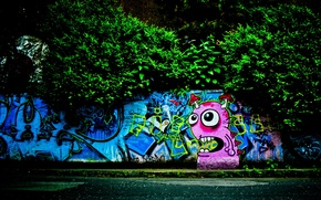 Picture trees, graffiti, monster, Wall, the sidewalk