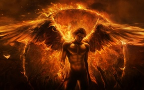 Picture fire, wings, angel, hands, the demon, art, guy, Imaliea