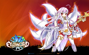 Picture look, anime, tail, staff, elsword