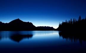 Picture trees, mountains, lake, silhouette, Canada, Albert, Kananaskis