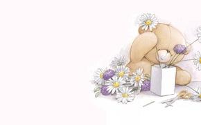 Wallpaper figure, chamomile, bouquet, art, bear, children's, Teddy