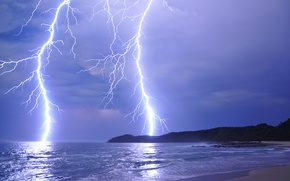 Picture sea, the storm, the sky, clouds, mountains, lightning