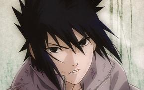 Picture portrait, grey background, Naruto, torn clothes, abrasion, Sasuke uchiha, usgrad, Naruto shippuuden