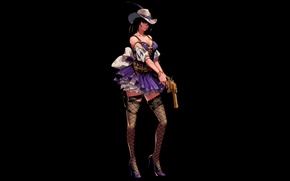 Wallpaper girl, the dark background, weapons, stockings, hat, revolver, dungeon and fighter