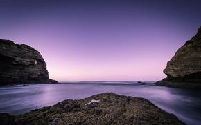 Picture beach, the ocean, rocks, dawn, New Zealand
