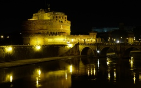 Picture night, bridge, lights, river, Rome, Italy, The Tiber, Castel Sant'angelo