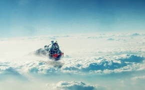 Wallpaper the sky, clouds, Train, locomotive
