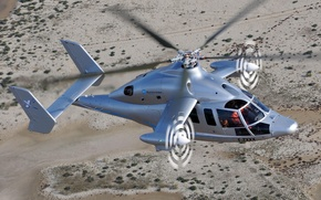 Wallpaper Flight, Rotorcraft, Helicopter, Eurocopter, Desert, Height